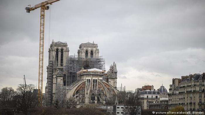 Notre Dame cathedral in Paris under construction