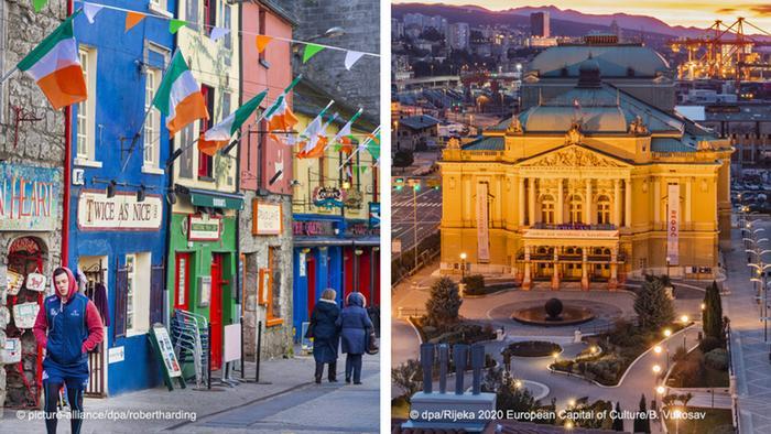 Голуей (ліворуч) - це народна музика і паби, Рієка (праворуч) - хорватська столиця розмаїття. Культурні столиці Європи 2020