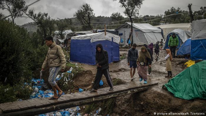 Acampamento de refugiados na ilha de Lesbos, na Grécia