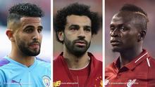 Fussball Bildkombo l Riyad Mahrez, Mohamed Salah und Sadio Mané