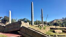 König Ezanas Stele in Aksum UNESCO-Weltkulturerbe Axum-Obelisken sind schwer beschädigt. Axum, Tigiray Copyright: Million H/Selassie ( Dw Koori.Mekelle) 2019