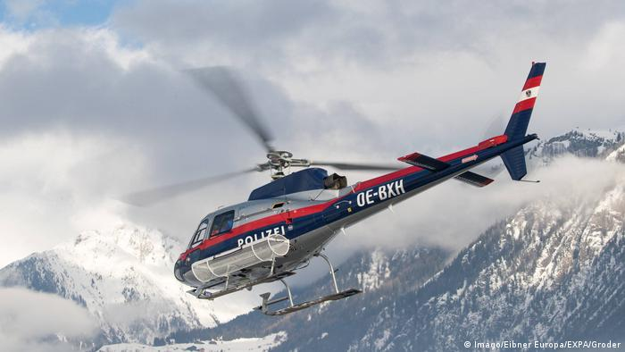 Austrian police helicopter in the mountains