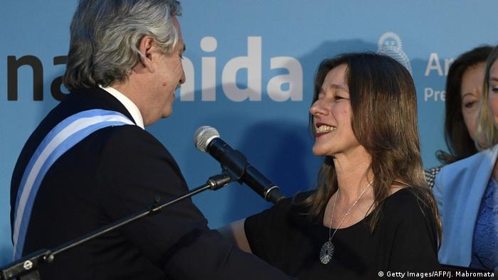 Foto de Alberto Fernández y Sabina Frederic de Argentina.