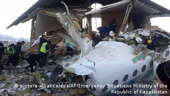 На месте авиакатастрофы в Алма-Ате