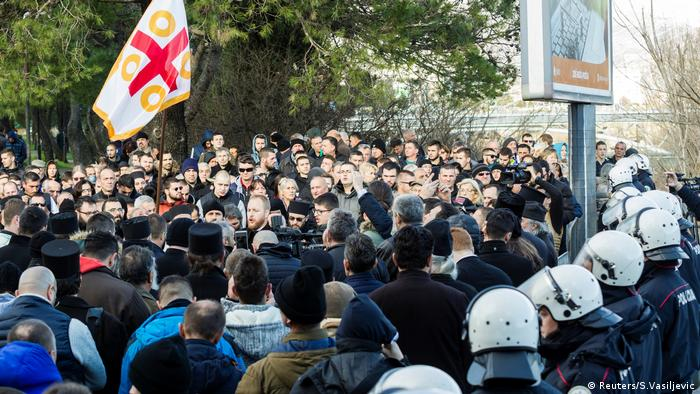 People in Podgorica protest against the new religious law (Reuters/S.Vasiljevic)