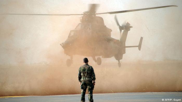 A Eurocopter Tiger helicopter lands in Sevare, Mali