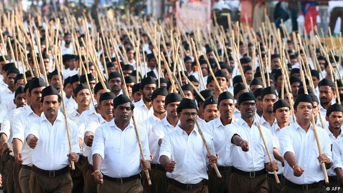 The Rashitrya Swayamsevak Sangh (RSS) is a right-wing, Hindu-nationalist paramilitary volunteer organization. Members of the group, which is the parent organization of the BJP, were seen parading on the outskirts of Hyderabad in support of the new law.