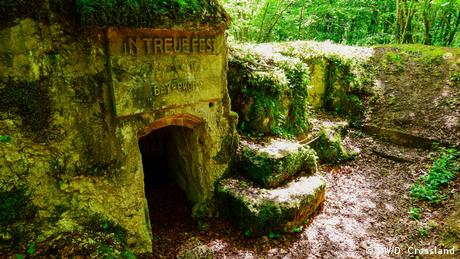 A bunker in northern France built by a Bavarian regiment and inscribed with the words In Treue Fest, (Steadfast in loyalty)