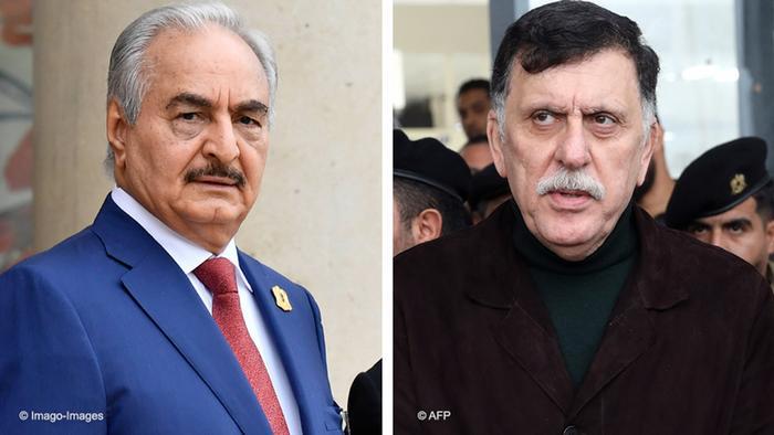 Protagonistas do conflito líbio: general Khalifa Hafter e presidente do GNA, Fayez al-Sarraj