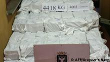 Handout picture released by Uruguay's Navy showing 4418 kg of cocaine seized at Montevideo's port on December 27, 2019. - Uruguayan authorities have opened an investigation into a record cocaine seizure described as the biggest blow to drug-trafficking in the country's history, the navy said on Friday. The navy seized four soy-flour containers packed with bags of cocaine at Montevideo's port. (Photo by HO / Uruguay's Navy / AFP) / RESTRICTED TO EDITORIAL USE - MANDATORY CREDIT AFP PHOTO / Uruguay's Navy - NO MARKETING - NO ADVERTISING CAMPAIGNS - DISTRIBUTED AS A SERVICE TO CLIENTS