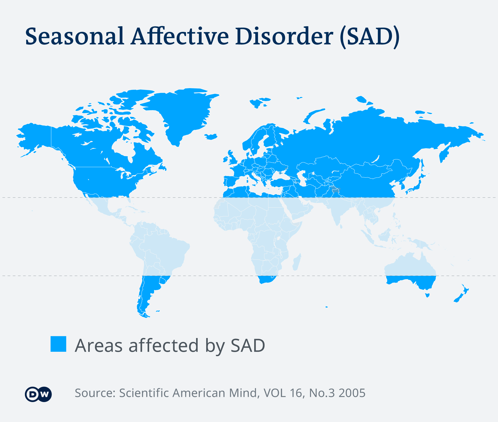 World map showing countries with seasonal affective disorder