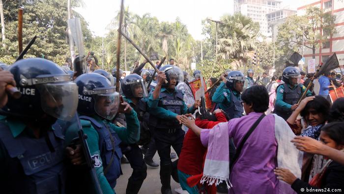 Zusammenstoß von Polizei und linkem Parteibündnis in Dhaka, Bangladesch
