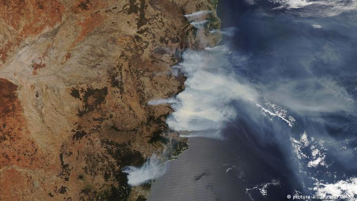 Australien Buschbrände Feuer Waldbrand Satelliten