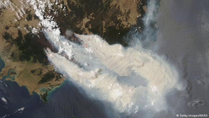 A satellite image from NASA showing smoke from bushfires streaming out from fires burning in Victoria's Great Dividing Range of mountains, into the Tasman Sea