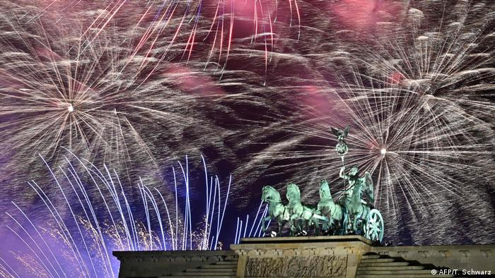 The firework display in Berlin that welcomed New Year 2020