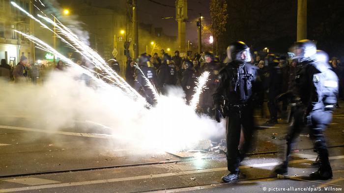 Police in Leipzig under attack