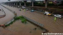 Übersicht über die Flut in Bekasi, nahe Jakarta