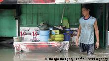 Andauernder Regen führt zu Jahresbeginn zu Hochwasser in der Region Jakarta, Indonesien