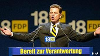 Der Kanzlerkandidat der FDP, Guido Westerwelle auf dem FDP-Bundesparteitag in Mannheim