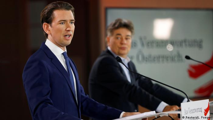 Head of Austria's Green Party, Werner Kogler, and head of People's Party (ÖVP), Sebastian Kurz