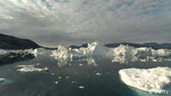 An image of sea ice off Greenland