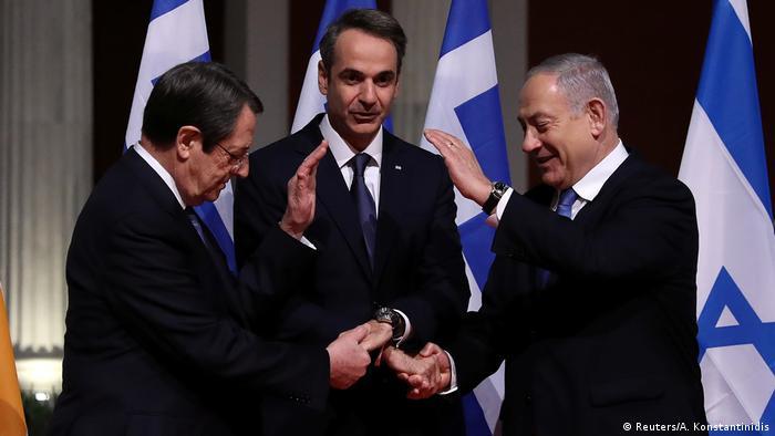 Kıbrıs, Yunanistan ve İsrail liderleri Ocak ayında Doğu Akdeniz'deki ortak boru hattı projesinin imza töreninde.