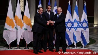 Anastasiades, Miçotakis ve Netanyahu (soldan sağa)