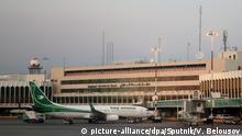 07.10.2019, Irak, Bagdad: 6035246 07.10.2019 Iraqi airways aircraft is parked next to the building of the International airport of Baghdad, Iraq. Vitaliy Belousov / Sputnik Foto: Vitaliy Belousov/Sputnik/dpa |