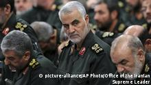 FILE - In this Sept. 18, 2016, file photo provided by an official website of the office of the Iranian supreme leader, Revolutionary Guard Gen. Qassem Soleimani, center, attends a meeting in Tehran, Iran. Iraqi TV and three Iraqi officials said Friday, Jan. 3, 2020, that Soleimani, the head of Iran's elite Quds Force, has been killed in an airstrike at Baghdad's international airport. (Office of the Iranian Supreme Leader via AP, File) |
