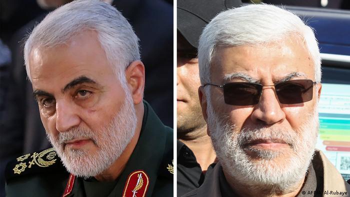 Fotos de Qassem Soleimani y Abu Mahdi al-Muhandis.