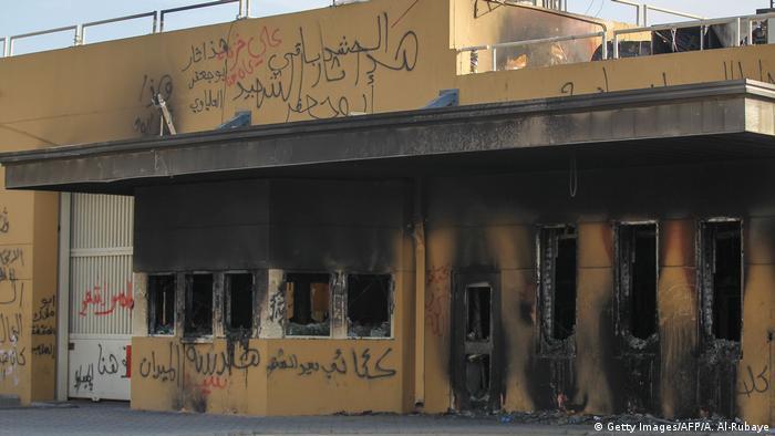 Der Eingangsbereich der US-Botschaft in Bagdad nach der Stürmung durch Demonstranten