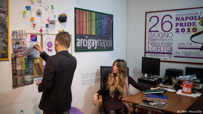 Daniela Lourdes Falanga and Antonello Sannino in the Naples headquarters of Arcigay, Italy's leading LGBT+ organization