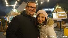 Kristian Hostić mit Freundin Marijana in Djakovo Kristian Hostić, Auswanderer nach Kroatien, aus Winnenden (Baden-Wuerttemberg) hier mit seiner Freundin Marijana auf dem Weihnachtsmarkt in Đakovo (Djakovo), einer Kleinstadt im Osten Kroatiens.
