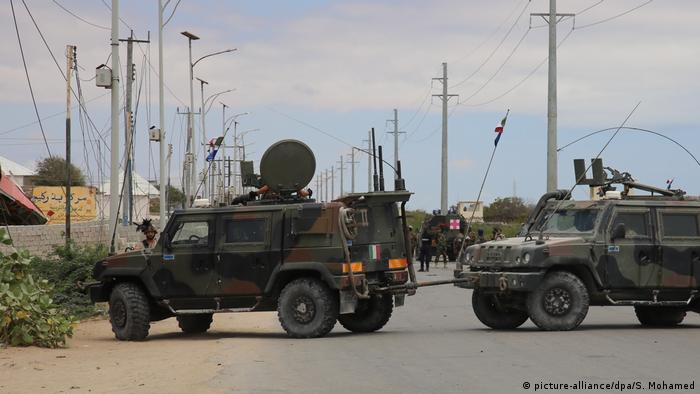 Armored vehicles block a road in Mogadishu.