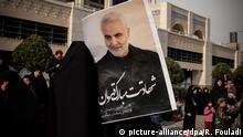 January 3, 2020, Tehran, Iran: Iranians mourn during an anti-US demonstration to condemn the killing of Iranian Revolutionary Guards Corps (IRGC) Lieutenant general and commander of the Quds Force Qaaem Soleimani, after Friday prayers in Tehran, Iran. The Pentagon announced that Iran's Quds Force leader Qasem Soleimani and Iraqi militia commander Abu Mahdi al-Muhandis were killed on 03 January 2020 following a US airstrike at Baghdad's international airport. The attack comes amid escalating tensions between Tehran and Washington. (Credit Image: © Rouzbeh Fouladi/ZUMA Wire |