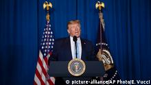 03.01.2020 President Donald Trump delivers remarks on Iran, at his Mar-a-Lago property, Friday, Jan. 3, 2020, in Palm Beach, Fla. (AP Photo/ Evan Vucci)