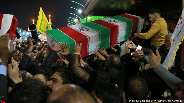 Mourners carry the coffin of Iran's top general Qassem Soleimani during his funeral in Karbala, Iraq