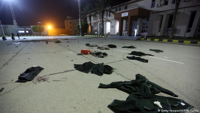 Clothing left on the ground after an airstrike in Tripoli
