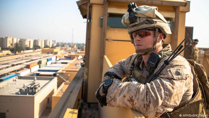 US Marines with 2nd Battalion, 7th Marines, assigned to the Special Purpose Marine Air-Ground Task Force-Crisis Response-Central Command (SPMAGTF-CR-CC) 19.2, reinforcing the Baghdad Embassy Compound in Iraq on January 3, 2020.