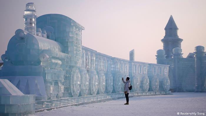 Train made of ice at the Harbin festival (Reuters/Aly Song)