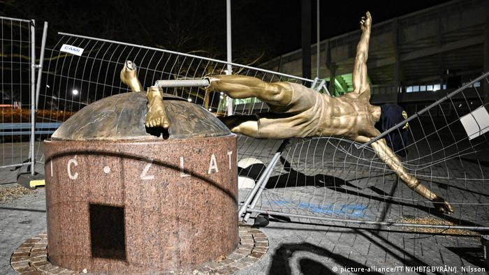 Vandalized statue of Zlatan Ibrahimovic