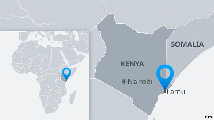 Map of Kenya and Somalia showing Lamu