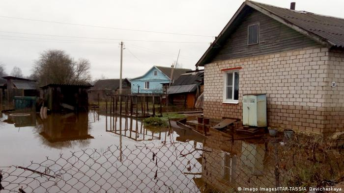 A flooded area in Novgorod Region, northwest Russia in November 2019.
