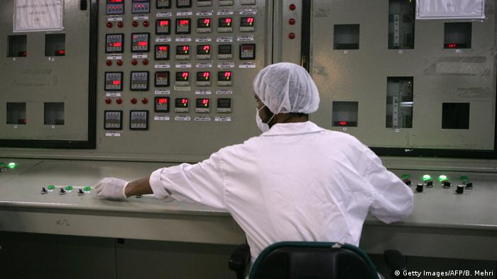 A technician works at a nuclear facility in Iran
