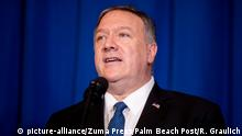 December 29, 2019, West Palm Beach, Florida, USA: Secretary of State Mike Pompeo speaks to the media after briefing President Donald Trump about recent US air strikes in Syria and Iraq at Trump International Golf Club in West Palm Beach, Florida on December 28, 2019. (Credit Image: © Richard Graulich/The Palm Beach Post via ZUMA Wire |