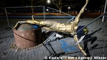 The statue of soccer player Zlatan Ibrahimovic is seen sawn down and destroyed, at the square next to football arena in Malmo, Sweden January 5, 2020. TT News Agency/Johan Nilsson via REUTERS ATTENTION EDITORS - THIS IMAGE WAS PROVIDED BY A THIRD PARTY. SWEDEN OUT. NO COMMERCIAL OR EDITORIAL SALES IN SWEDEN. TPX IMAGES OF THE DAY