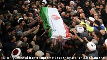 6.1.2020*** A handout picture provided by the office of Iran's Supreme Leader Ayatollah Ali Khamenei shows mourners carrying the casket of slain top Iranian military commander Qasem Soleimani, after he was killed in a US strike in Baghdad last week, in the capital Tehran on January 6, 2020. - Mourners packed the streets of Tehran for ceremonies to pay homage to Soleimani, who spearheaded Iran's Middle East operations as commander of the Revolutionary Guards' Quds Force and was killed in a US drone strike on January 3 near Baghdad airport. (Photo by - / KHAMENEI.IR / AFP) / === RESTRICTED TO EDITORIAL USE - MANDATORY CREDIT AFP PHOTO / HO / KHAMENEI.IR - NO MARKETING NO ADVERTISING CAMPAIGNS - DISTRIBUTED AS A SERVICE TO CLIENTS ===