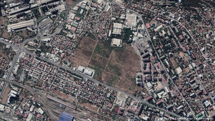Nord-Mazedonien Google Earth Aufnahme von Skopje