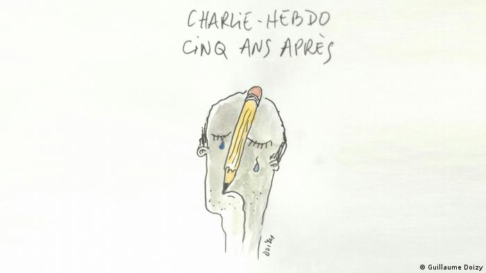 caricature by Guillaume Doizy depicts a man with tears flowing and a pencil jammed into his head (Guillaume Doizy)