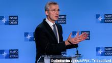06.01.2020 *** NATO Secretary General Jens Stoltenberg gestures as he speaks during a press conference at the end of The North Atlantic Council meeting focused on the situation concerning Iran, at the Ambassadorial level, at NATO Headquarters, in Brussel, on January 6, 2020. (Photo by Kenzo TRIBOUILLARD / AFP) (Photo by KENZO TRIBOUILLARD/AFP via Getty Images)